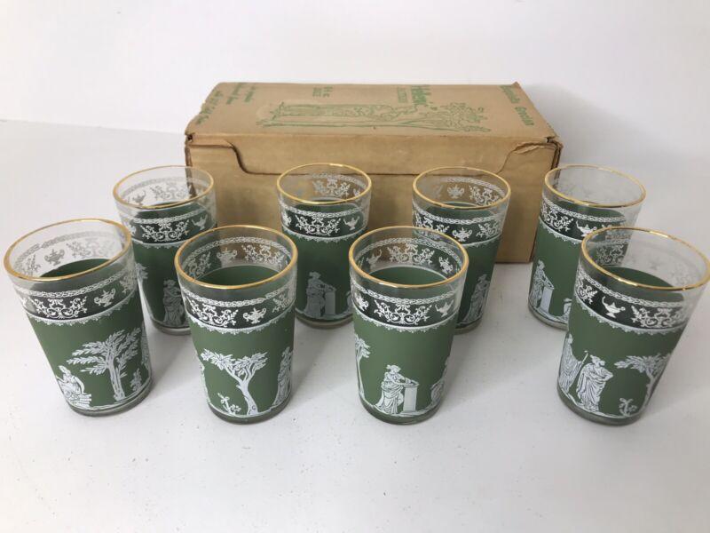 Vintage Wedgwood Green Jasperware Hellenic Pattern Juice Glasses ~Set of 8 ~6oz.