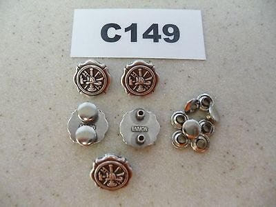 #C149 Enmon Lot of 5 Conchos Fireman - Hat, Axe, & Ladder 18mm Diameter - Fireman Hat Craft