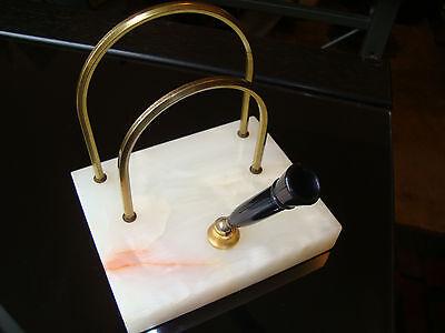 Vinavintage White Marble Base Brassbakelite Pen Letter Holder Felt Bottom