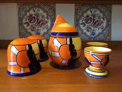 Striking Sunburst Art Deco Style Set. Salt & Pepper Shaker, Jam Pot, Egg Cups