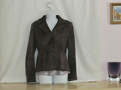 Parisian Signature Leather Jacket  Womens Brown 3 Button   lined sz L