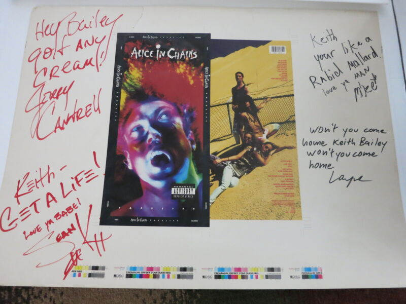 ALICE IN CHAINS SIGNED UNCUT LONGBOX PRINT BY ALL 4 ORIGINAL RARE! ONE OF A KIND