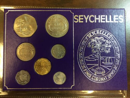 1972 and 1974 Seychelles mint uncirculated set 7 coins original package