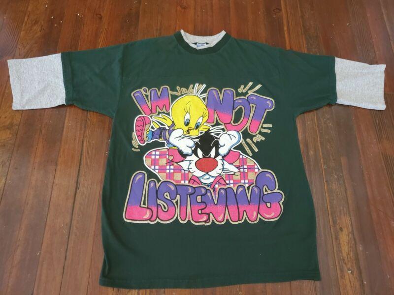 Vintage Handmade? Looney Tunes Tweety Bird Sylvester Large Print Shirt