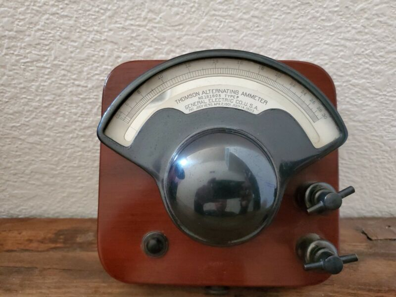 Antique 1919 Thomson Alternating Ammeter Made By General Electric CO. U.S.A