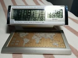 SEIKO Global Radio Wave Control QHR019SLH World Travel Alarm Clock 29 Time Zones