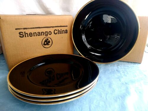 """4 Vintage BLACK with 22k Gold Accent 10 3/8"""" DINNER PLATES - SHENANGO CHINA"""