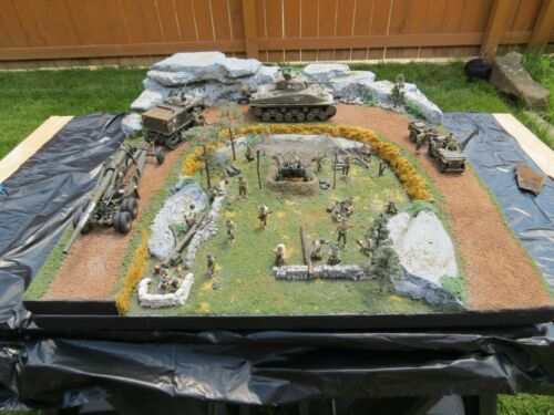 Large Completed Custom Military Diorama with Vehicles, Soldiers, Landscaping, an
