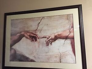 "Framed Art- The Hands from ""The Creation of Adam"" $200 obo"