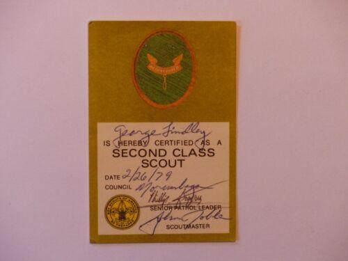 Neat 1979 Norumbega Council Massachusetts   Boy Scout BSA Second Class Rank Card