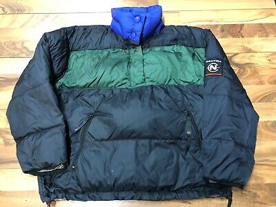 Vtg Nautica Competition Down Puffer Jacket Mens Large 90's Colorblock 1/2 Snap -