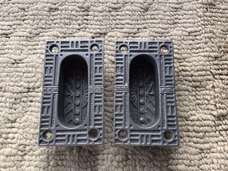 "Pair Of Vintage Victorian Pocket Door Pulls Handles Cast Iron Antique 3"" Tall"