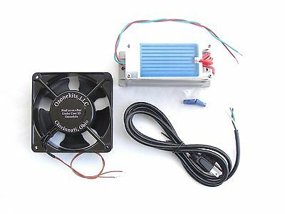 7 gr/hr Moisture Proof Ozone Kit w/pre soldered and mounted elements & 120mm Fan