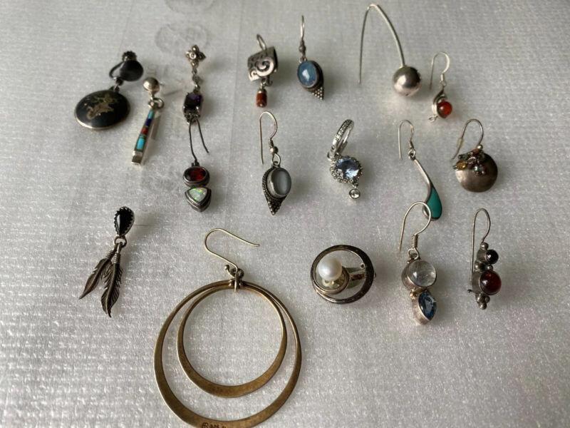 Vintage Sterling Silver LOT OF Single EARRING