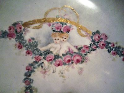 ~GORGEOUS ANTIQUE FRANCE LIMOGES HAND PAINTED PUTTI ROSES GARLAND CABINET PLATE!