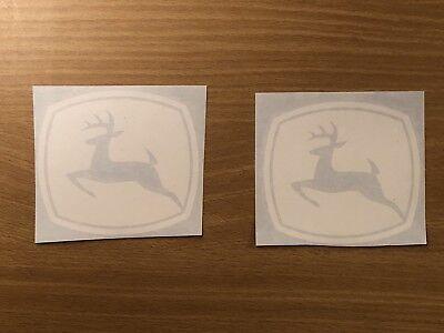 John Deere Sticker 3.5 Set Of 2 White Vinyl Decals Tractor Lawnmower Truck
