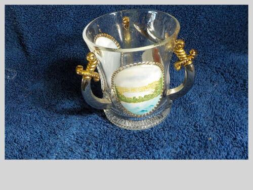 Vintage GLASS LOVING CUP Masonic Syria Pittsburgh Pa Niagara Falls June 1905