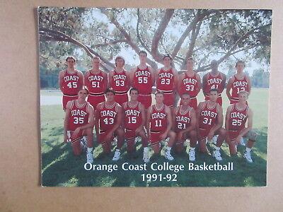ORANGE COAST COLLEGE 1991 1992 MENS BASKETBALL MEDIA GUIDE YEARBOOK
