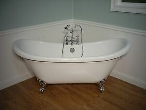 DOUBLE SLIPPER CLAWFOOT BATHTUB FAUCET Pedestal Tub EBay