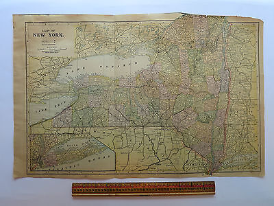 "Original Antique 1899 Atlas Map New York/ Pennsylvania Oversize 21.25"" x 13.5"""