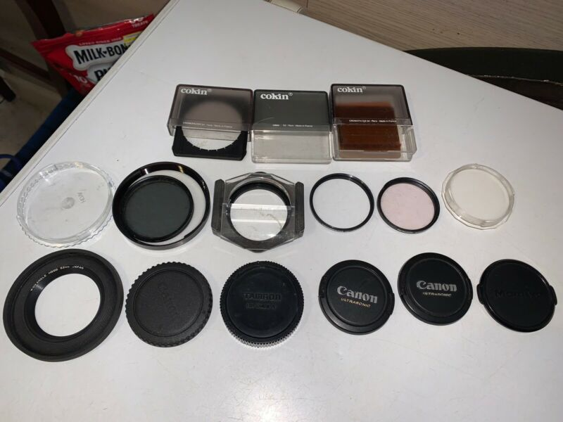 Lot of 15 Canon Cokin Camera Accessories Caps Filters