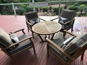 Outdoor table set, 4 chairs with cushions Hornsby Hornsby Area Preview