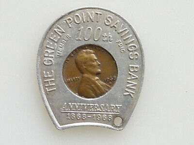 1968 ENCASED PENNY LUCKY CHARM HORSESHOE GREEN POINT SAVINGS BANK ANNIVERSARY Lucky Penny Charm