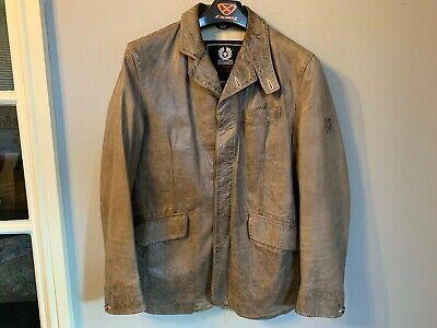VINTAGE BELSTAFF GOLD DISTRESSED LEATHER JACKET SIZE L