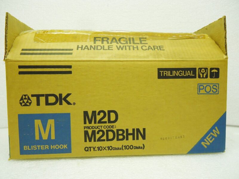 (New) TDK M2D Mini Floppy Disk Double Sided Double Density Case of 100 Blue Box