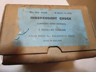 New Atlas 4 Inch 4 Jaw Independent Chuck 1 X 8 Tpi England Lathe
