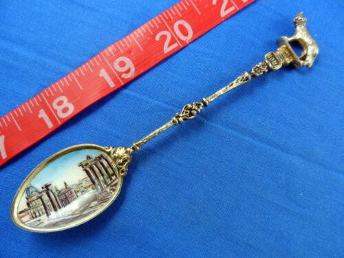 Rome Italy Enamel Bowl Forum 800/1000 Silver Foro Romano Old Souvenir Spoon