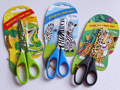 Kinderschere mit Motiven Leopard Schlange Zebra Bastelschere Papierschere Schere