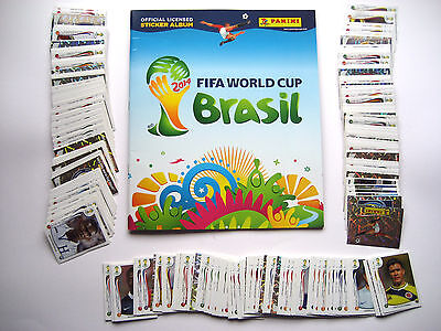 PANINI BRAZIL 2014 WORLD CUP FULL SET OF 640 LOOSE STICKERS AND EMPTY ALBUM.