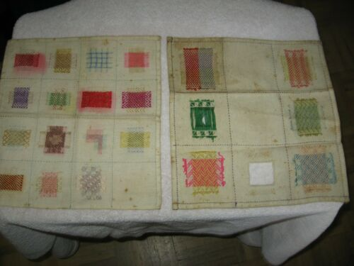 2 ANTIQUE DUTCH SILK ON LINEN DARNING OR MENDING SAMPLERS