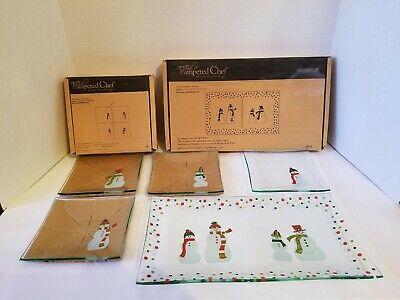 Christmas Pampered Chef Snowmen Rectangular Platter & Set Of 4 Appetizer Plates