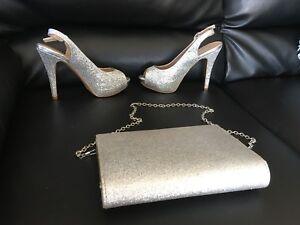 Silver glitter purse and heels sz 6,Hfx off Novalea