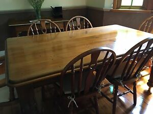 Solid Timber Dining Table & Chairs The Junction Newcastle Area Preview