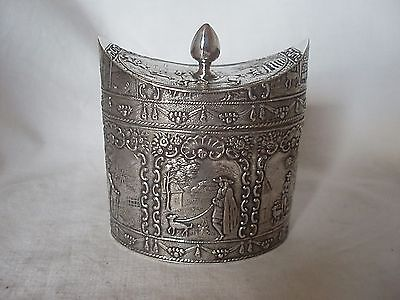 TEA CADDY VICTORIAN DUTCH STERLING SILVER LONDON 1893 (IMPORT)