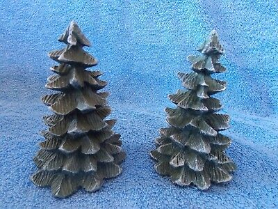 """Lot Of 2       4 1/2"""" Inch Green Trees For Christmas Village"""