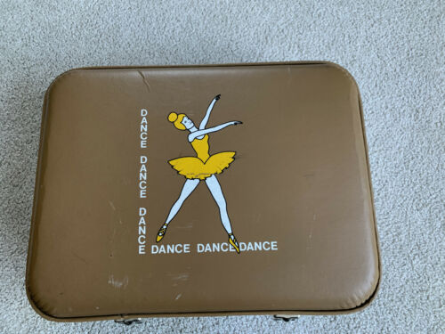 """VTG Ballet DANCE Suitcase Hard Sided LUGGAGE carry on 16x12"""" RARE  tote DANCER"""