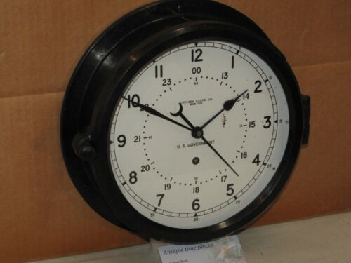"CHELSEA SHIPS/MILITARY CLOCK~U.S.NAVY~8 1/2"" DIAL~1984~12/24 HR DIAL~RESTORED"