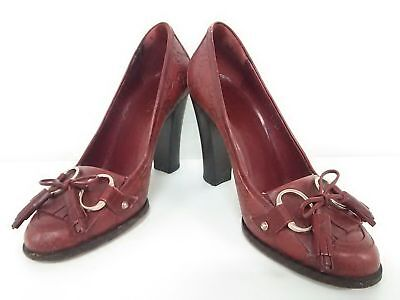 Auth GUCCI Guccissima Bordeaux Leather Heels Women