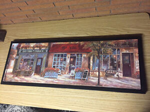 French storefront cafe canvas picture