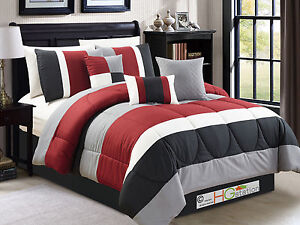 7P-Striped-Pleated-Quilted-Comforter-Set-Red-Burgundy-Black-Gray-Off-White-Queen