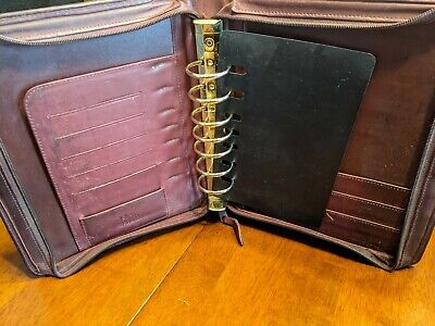 Vintage Franklin Quest 7 Ring Nappa Leather Planner 10273 Tf3 Cl 4044 Dark Red