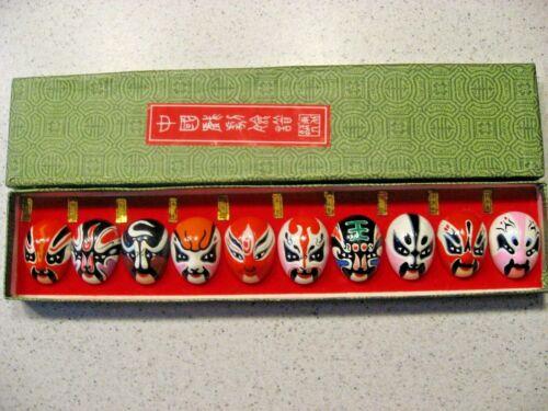 Vintage Box of 10 Miniature Japanese Asian Opera Kabuki Masks