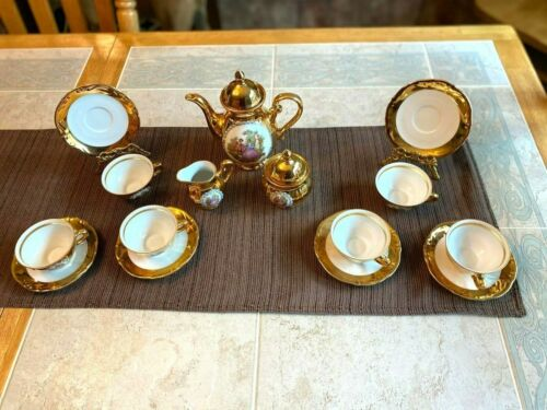 Antique German Porcelain Tea Coffee Set Gilt Gold 17 Piece