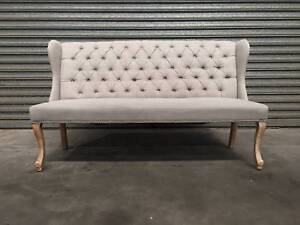 NEW WING SETTEE: ELISE BUTTON TUFTED TIMBER LEGS HIGH-END FABRIC Leumeah Campbelltown Area Preview