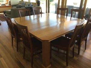 Solid Timber Dining Table  and Chairs seats 8 in exc cond
