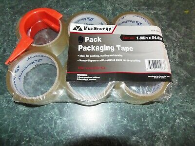 Max Energy Packaging Tape 6 Rolls Plus Dispenser. Free Shipping  Rm-1